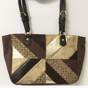Coach Patchwork chevron tote bag F17614